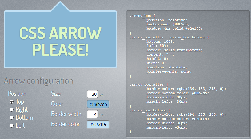 CSS-Generator für Pfeile, Tooltipps, Sprechblasen