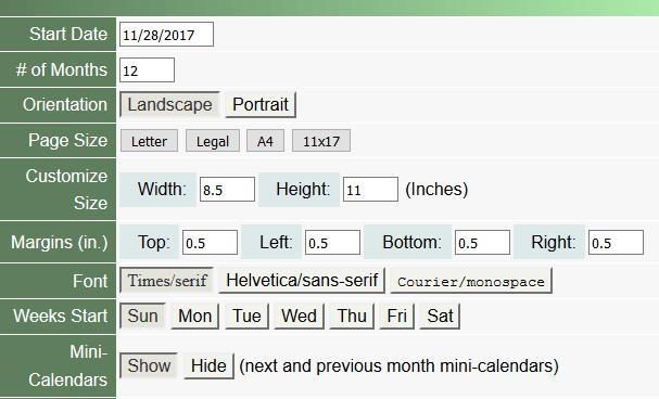 Individueller PDF-Monatskalender