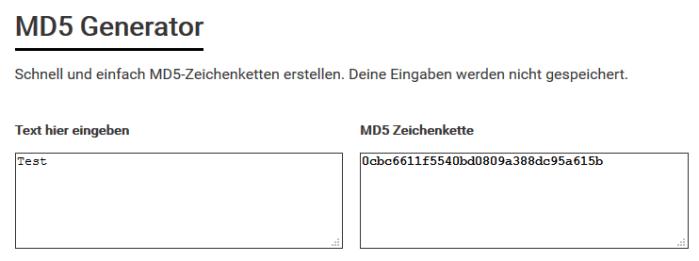 MD5-Zeichenketten Generator