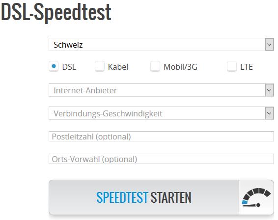 Speedtest der eigenen Datenleitung