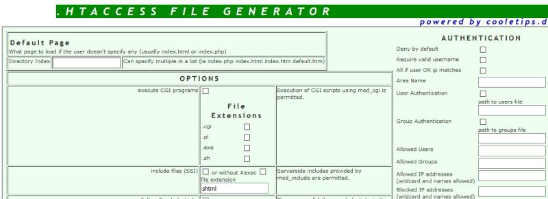 htaccess Generator