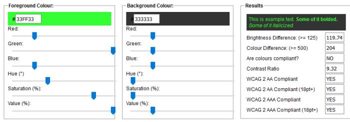 Farben und Kontraste Check