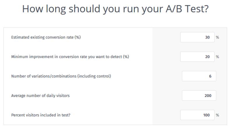 A/B-Split & multivarianter Testdauerrechner