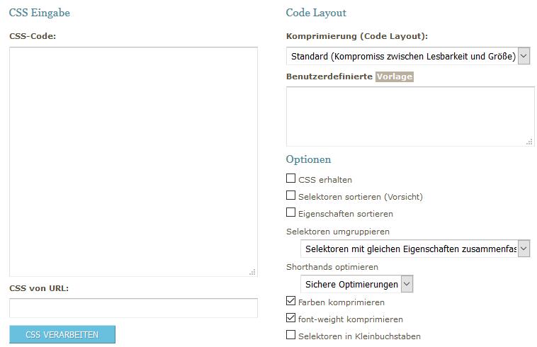 CSS Formatierer und Optimierer