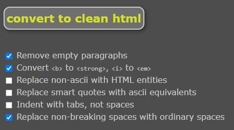 HTML Reiniger