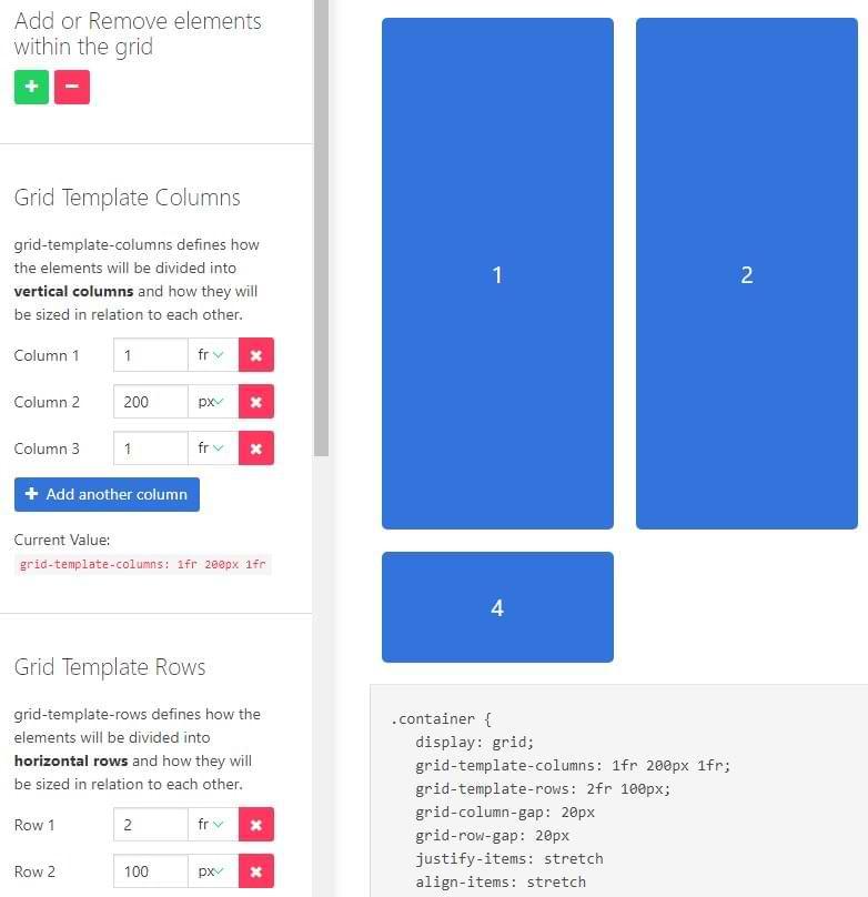 CSS-Generator für Spalten