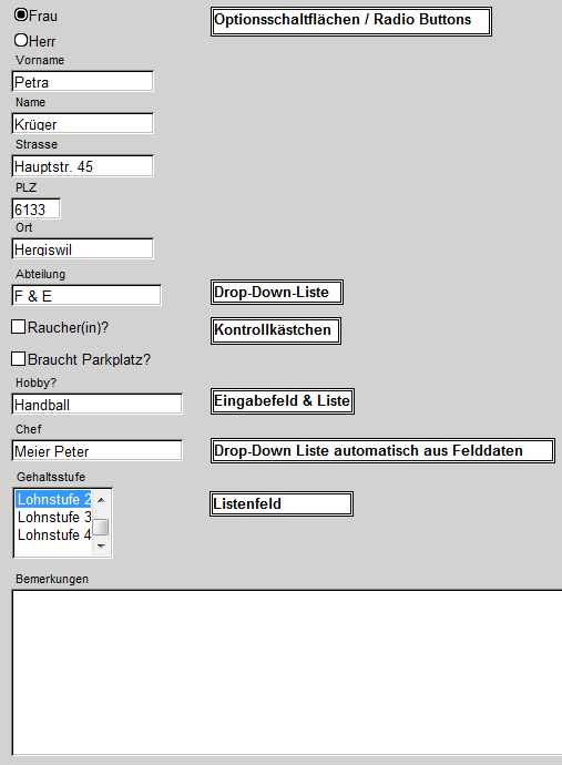 Datenbank-Felder